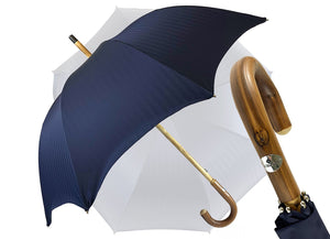 Blue Navy umbrella with Natural Chestnut Wood hand-curved - IL MARCHESATO LUXURY UMBRELLAS, CANES AND SHOEHORNS