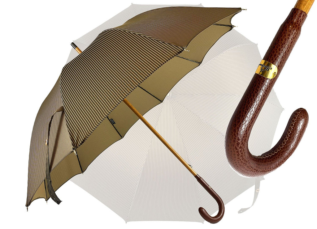 Classic Striped umbrella with Brown Leather handle - IL MARCHESATO LUXURY UMBRELLAS, CANES AND SHOEHORNS