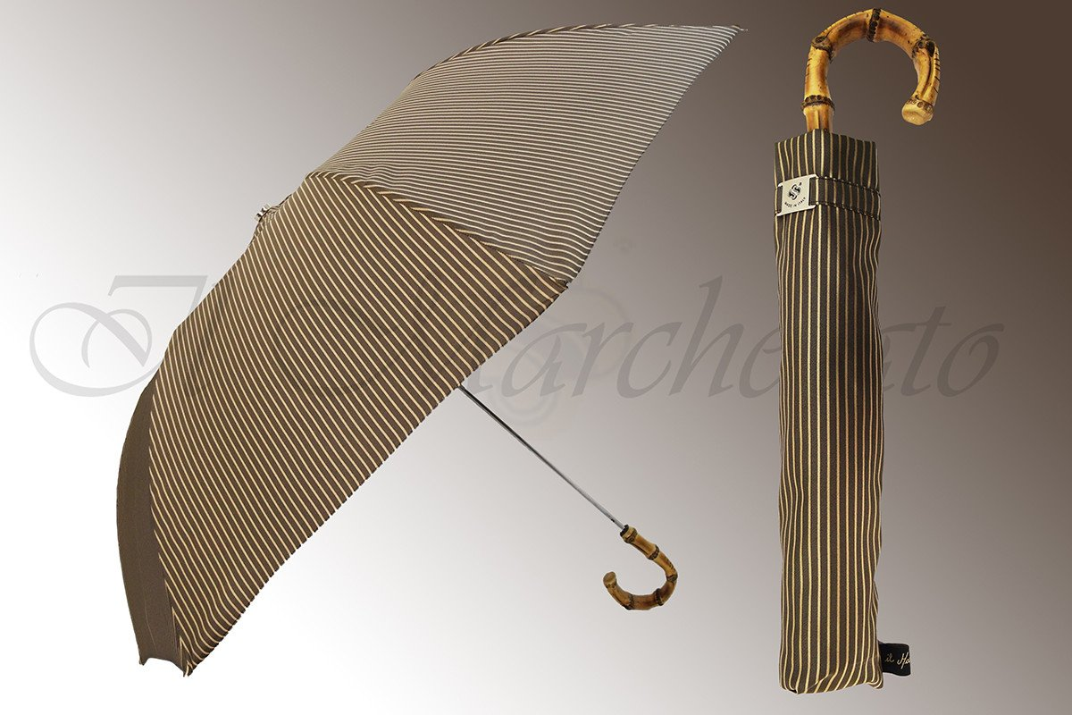 Beige & Cream Striped Men's Folding Umbrella - Whangee Bamboo Handle - il-marchesato