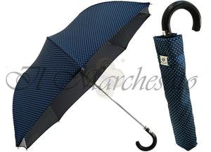 Polka Dot Men's Folding Umbrella - Black Leather Handle - il-marchesato