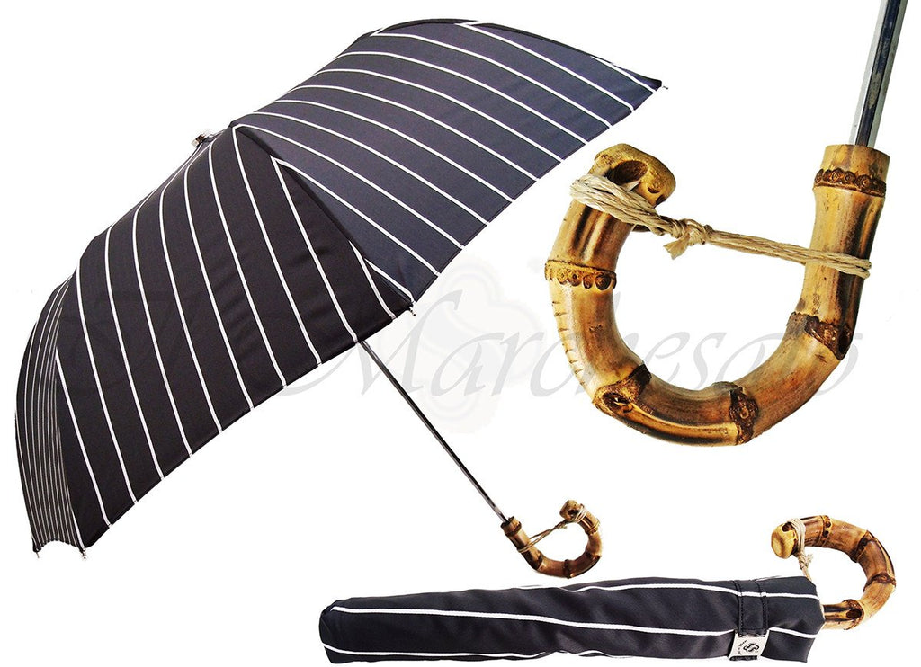 Black and White Striped Men's Folding Umbrella - Whangee Bamboo Handle - il-marchesato