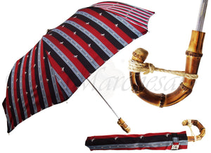 Multi-Color Striped Men's Folding Umbrella - Whangee Bamboo Handle - il-marchesato