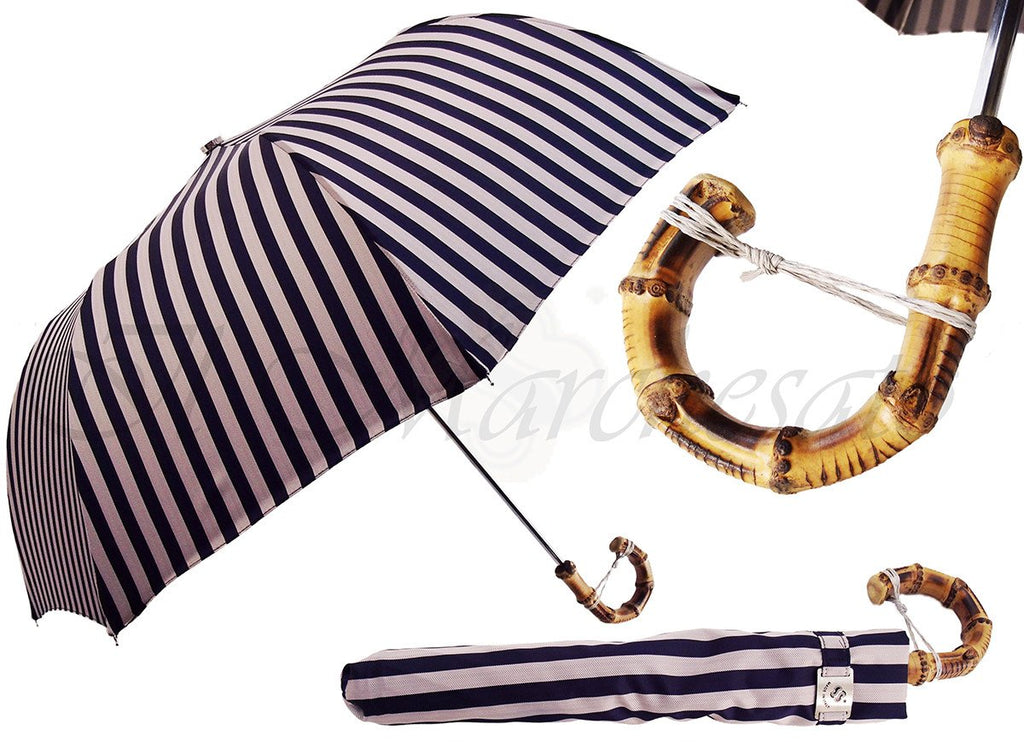 Dark Blue, & Dirty White Striped Men's Folding Umbrella - Bamboo Handle - il-marchesato