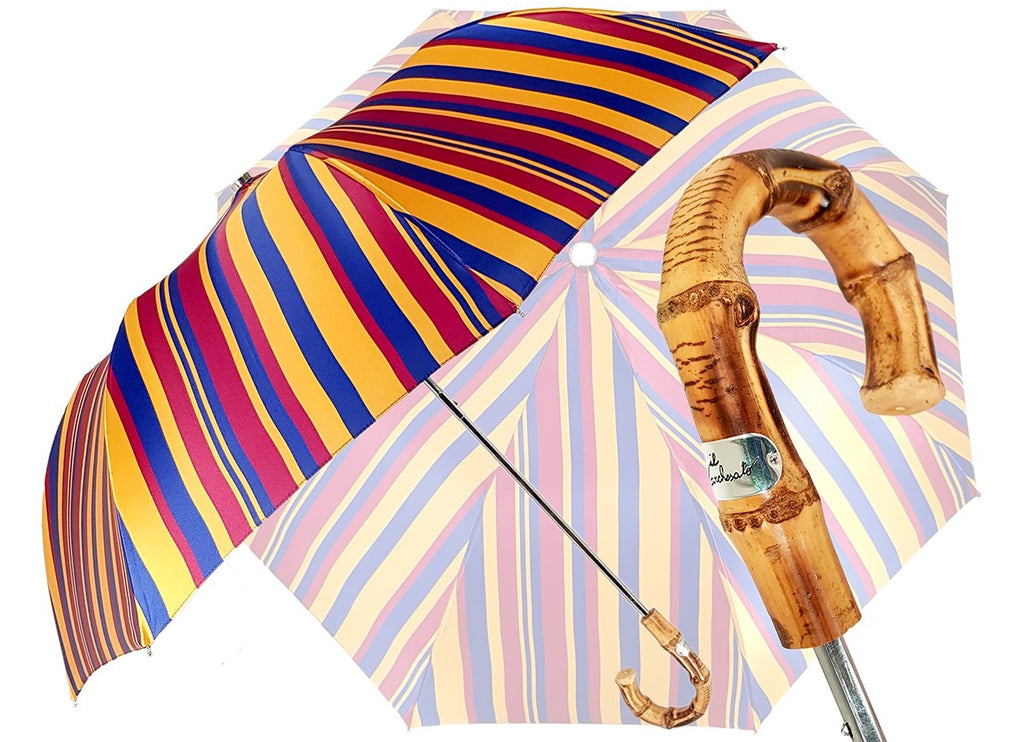 Crafted Multi-Color Striped Folding Umbrella - il-marchesato