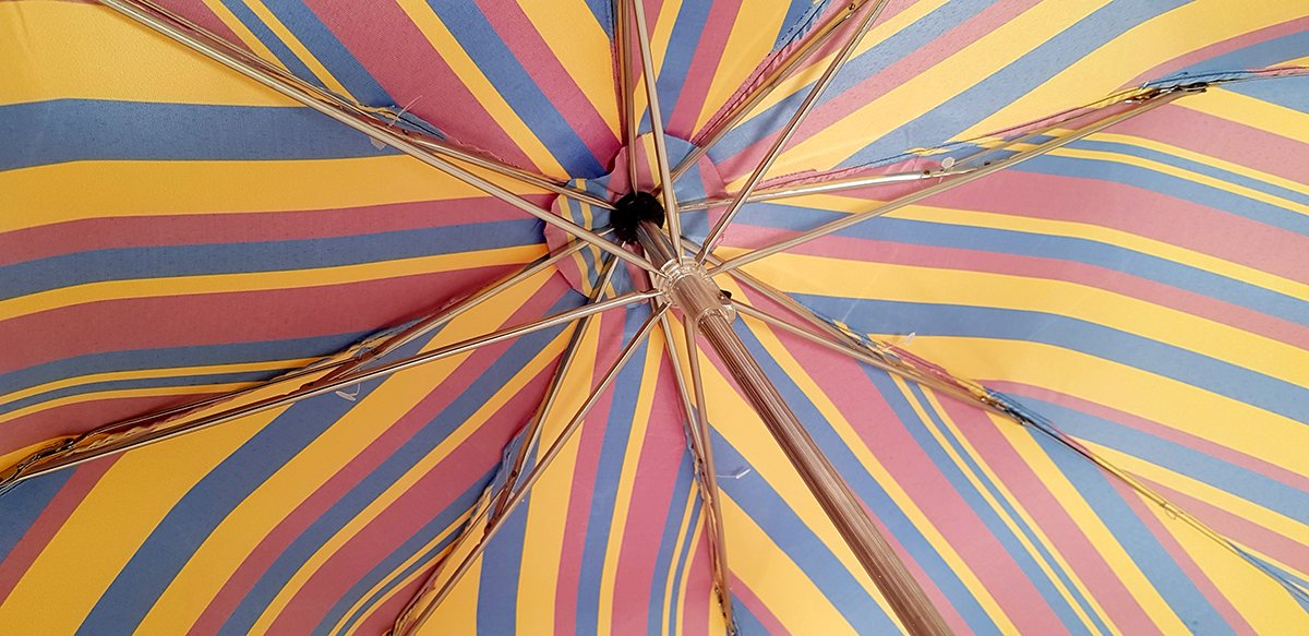 Crafted Multi-Color Striped Folding Umbrella