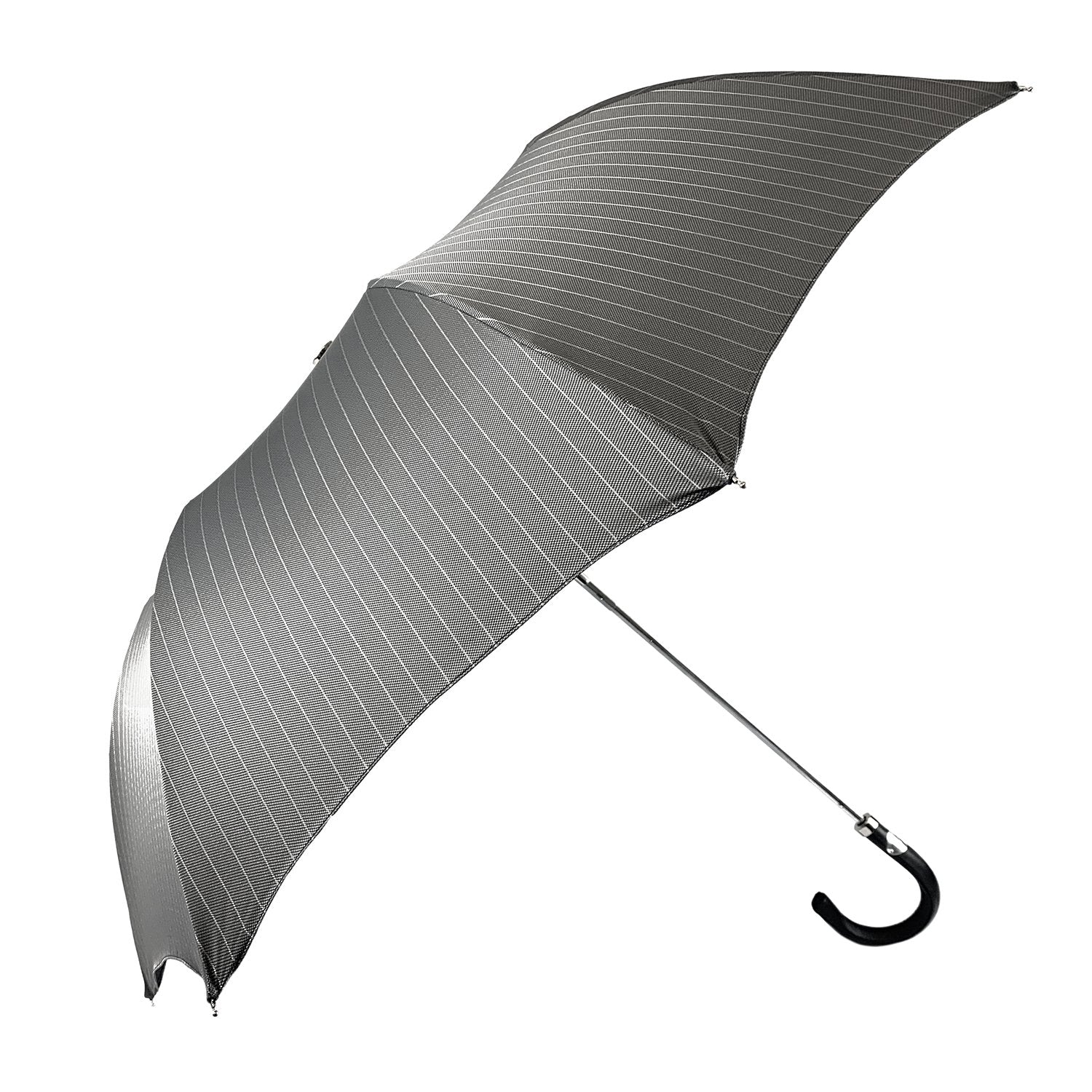 Folding gray striped umbrella for men - IL MARCHESATO LUXURY UMBRELLAS, CANES AND SHOEHORNS