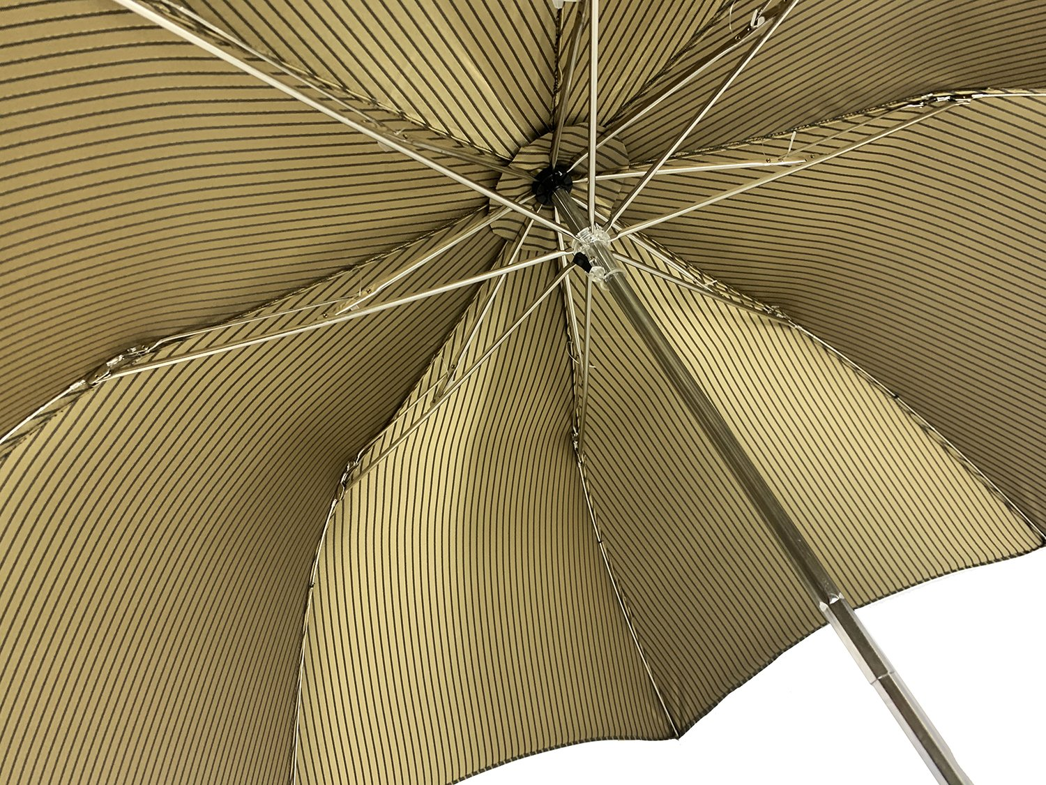 Folding Brown and Gold striped umbrella for men - IL MARCHESATO LUXURY UMBRELLAS, CANES AND SHOEHORNS