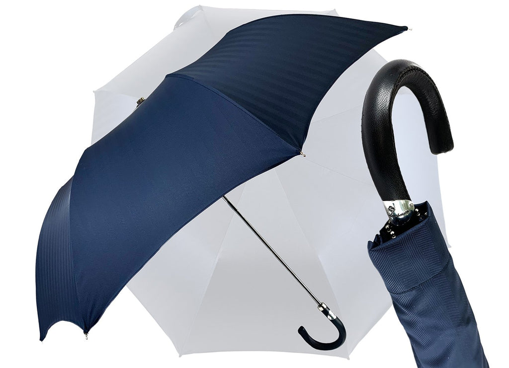 Blue Navy Jacquard Folding Umbrella - IL MARCHESATO LUXURY UMBRELLAS, CANES AND SHOEHORNS