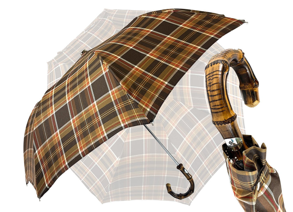 Folding Brown Tartan umbrella - IL MARCHESATO LUXURY UMBRELLAS, CANES AND SHOEHORNS