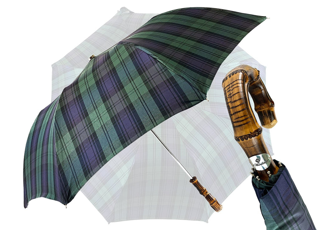 """Blackwatch"" Tartan Men's umbrella - IL MARCHESATO LUXURY UMBRELLAS, CANES AND SHOEHORNS"