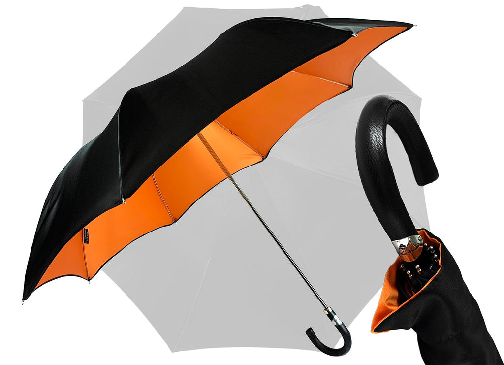 Black and Orange Exclusive Model from ilMarchesato - IL MARCHESATO LUXURY UMBRELLAS, CANES AND SHOEHORNS