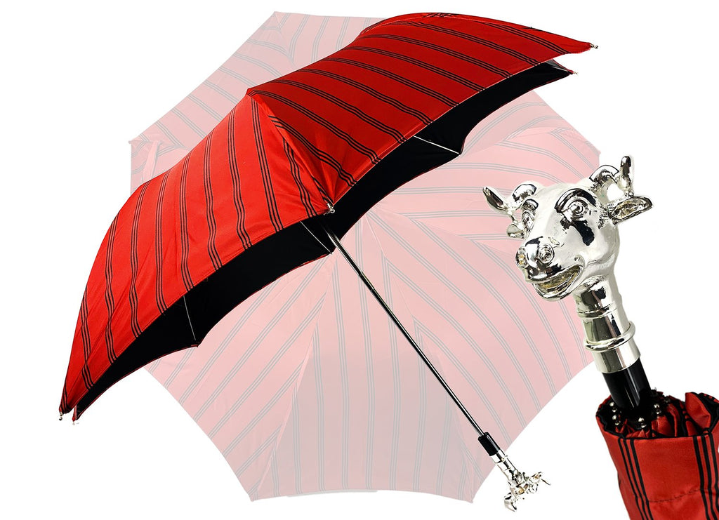 Folding Umbrella for Men with Silver-plated Bull Handle - IL MARCHESATO LUXURY UMBRELLAS, CANES AND SHOEHORNS