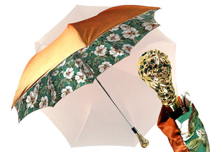 Exclusive light green flowered design - IL MARCHESATO LUXURY UMBRELLAS, CANES AND SHOEHORNS