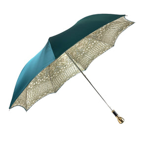 Baroque and turquoise umbrella with Mylord handle - IL MARCHESATO LUXURY UMBRELLAS, CANES AND SHOEHORNS