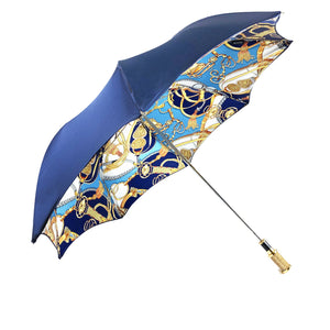 Fantastic blue with chains design - IL MARCHESATO LUXURY UMBRELLAS, CANES AND SHOEHORNS