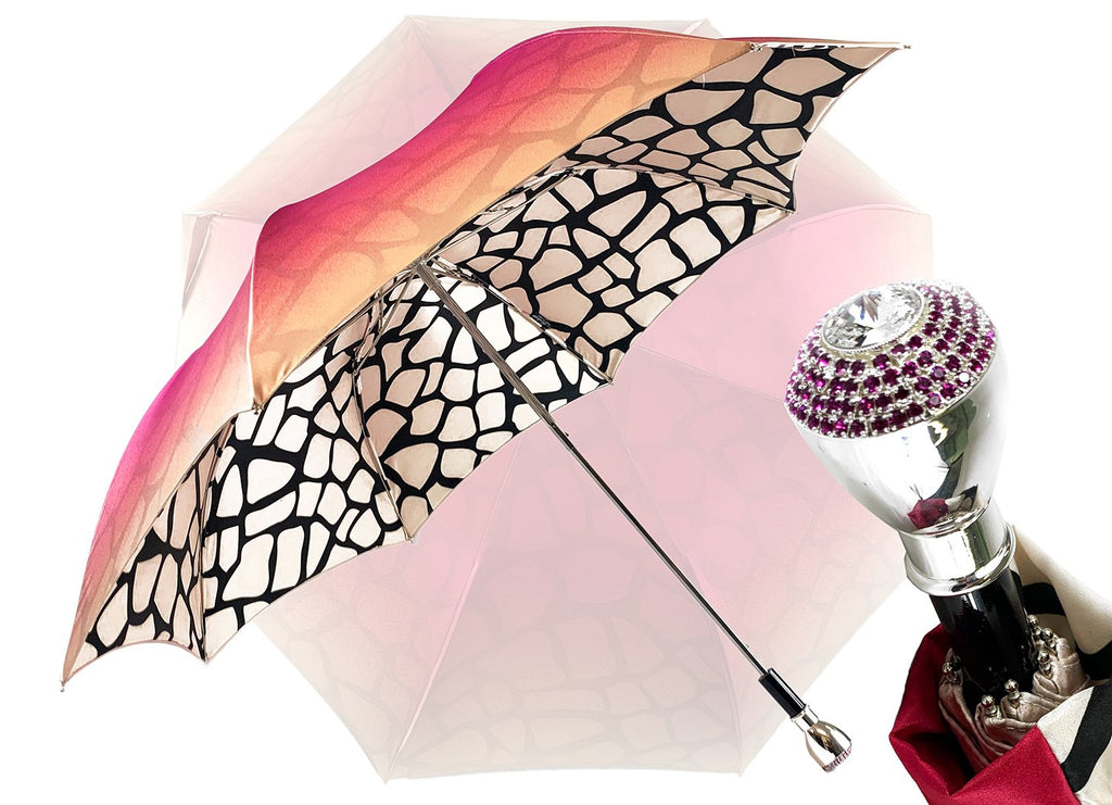 Double canopy umbrella with Magenta and exclusive design - IL MARCHESATO LUXURY UMBRELLAS, CANES AND SHOEHORNS