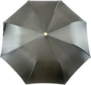 Damask Black and white with hundreds of crystals - IL MARCHESATO LUXURY UMBRELLAS, CANES AND SHOEHORNS