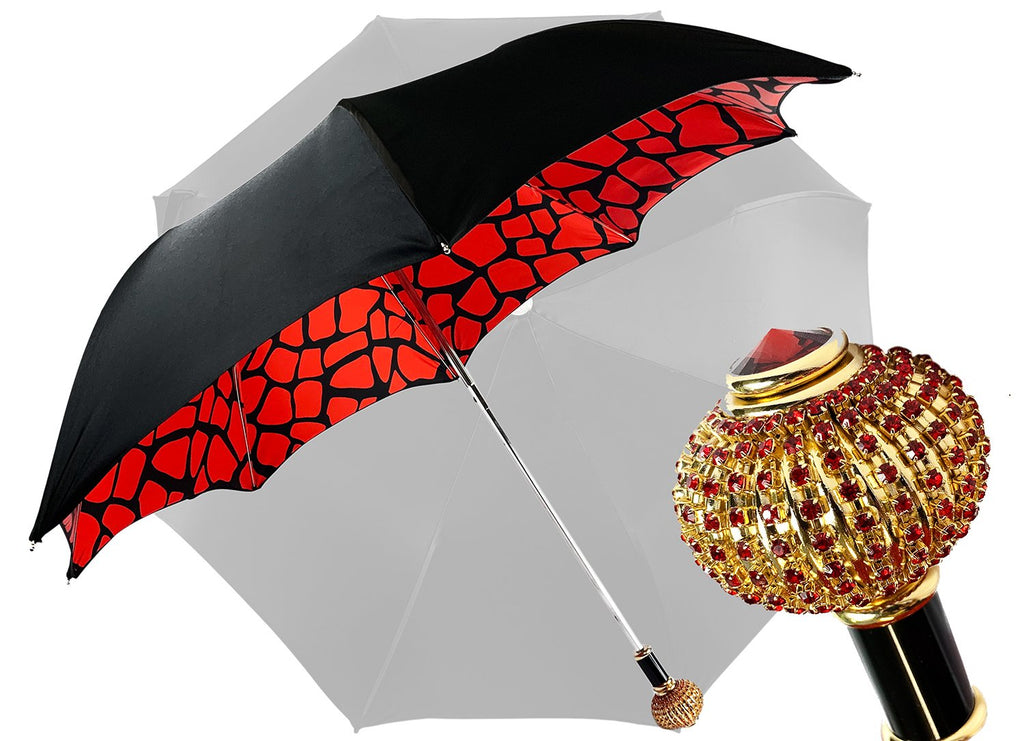 Handmade umbrella with Sphere decorated with red crystals - IL MARCHESATO LUXURY UMBRELLAS, CANES AND SHOEHORNS