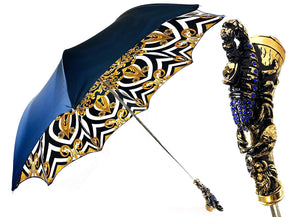 Exclusive handle with 24K golden scorpion and embellished with sapphire crystals - IL MARCHESATO LUXURY UMBRELLAS, CANES AND SHOEHORNS