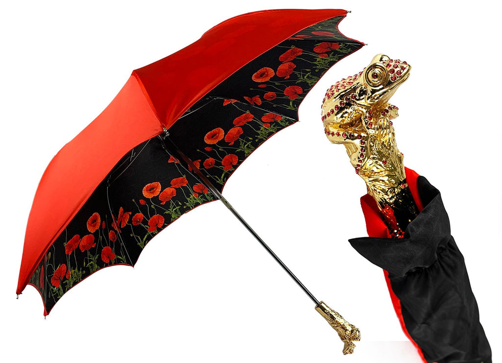 Luxury umbrella with red poppies and frog adorned with siam crystals - IL MARCHESATO LUXURY UMBRELLAS, CANES AND SHOEHORNS