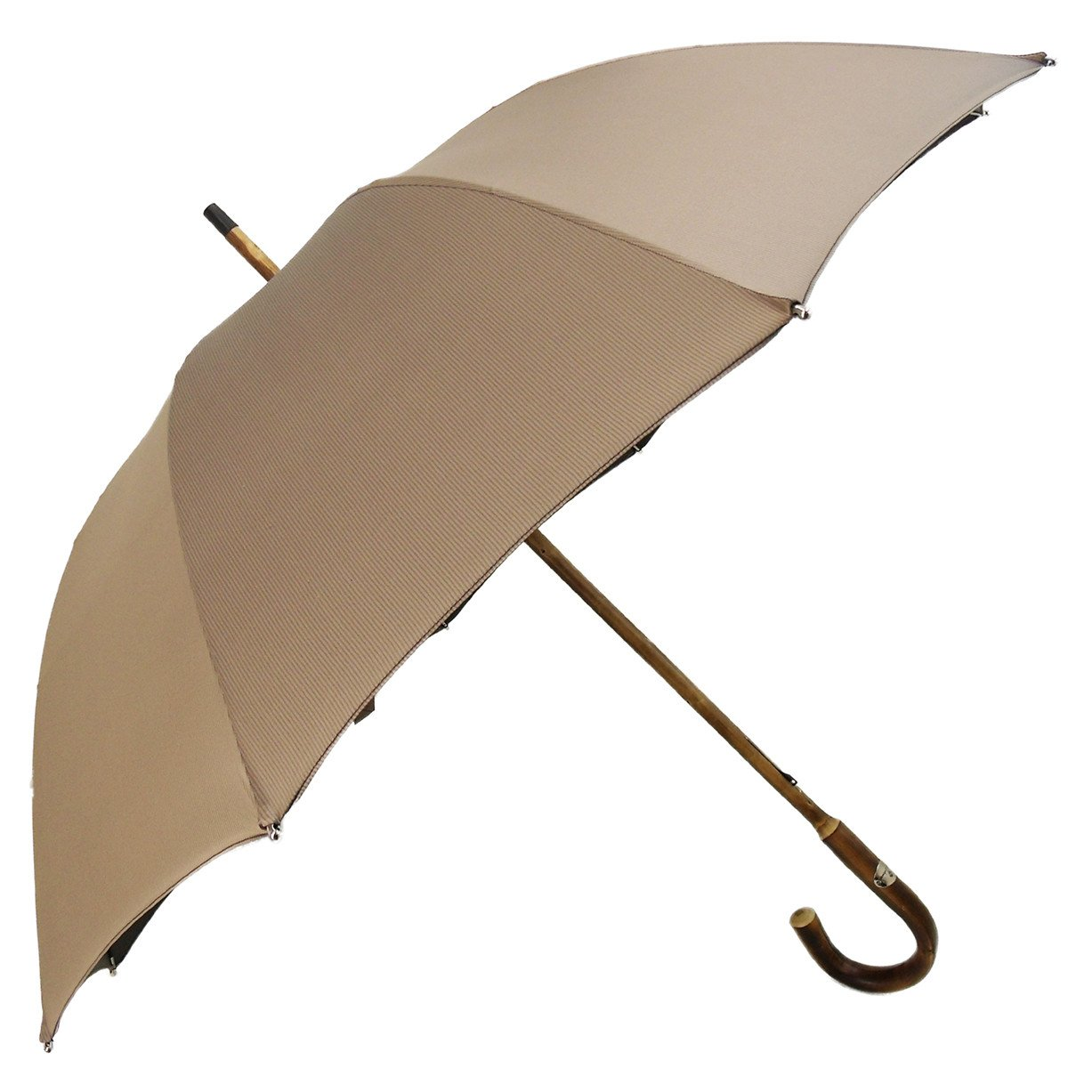 Carved From One Piece of Chestnut Wood - Beige Checked Twill Umbrella - il-marchesato
