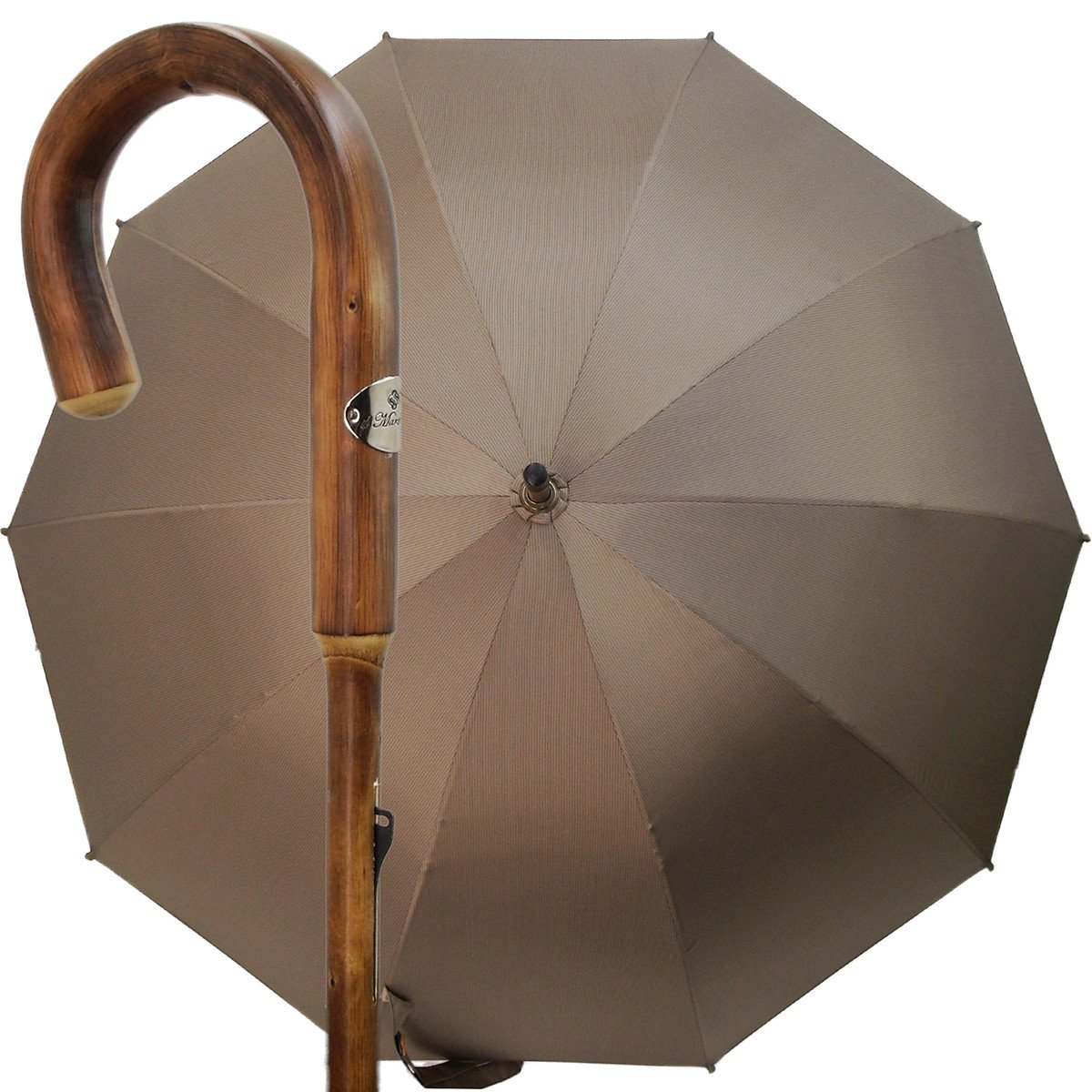 Carved From One Piece of Chestnut Wood - Beige Checked Twill Umbrella
