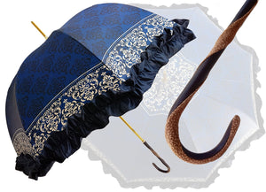 Women's umbrella Studied with a White & Black Pattern on a Blue Canopy - il-marchesato