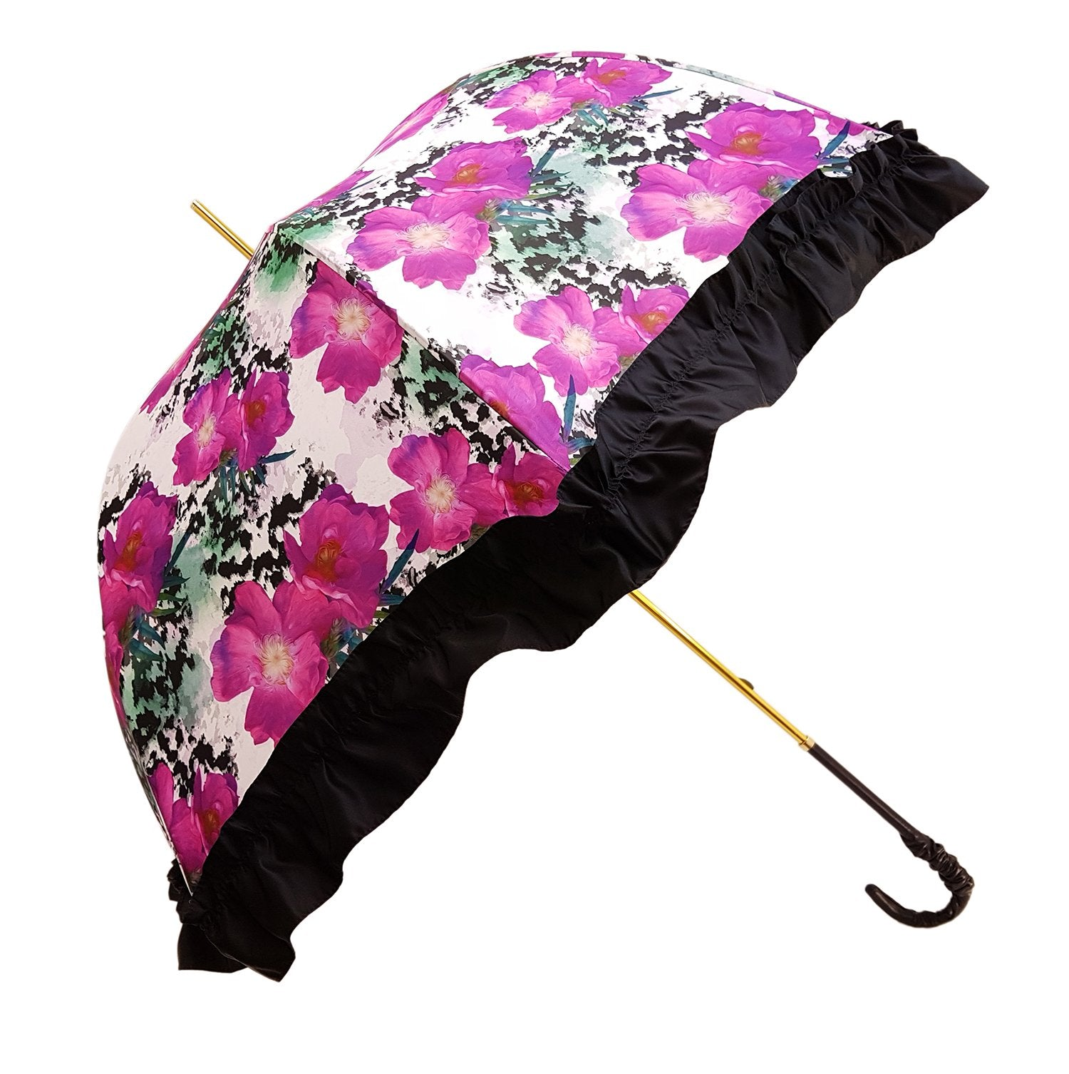 Women's Ruffled Umbrella Studied with a Multicor Pattern - il-marchesato