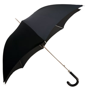 Classic Gentlemen's Black Umbrella With Leather Handle - il-marchesato