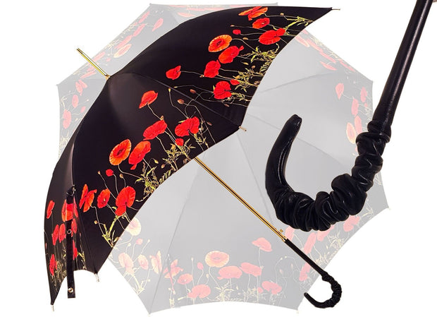 Black and Red - Poppies Umbrella - il-marchesato