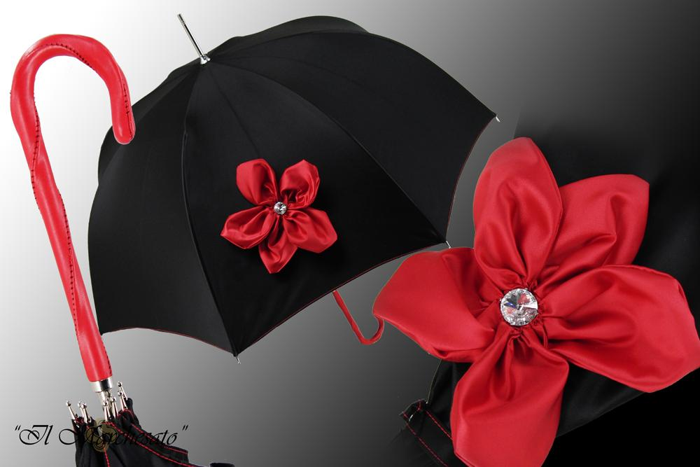 Awesome Black Ladies Umbrella - Red Flower