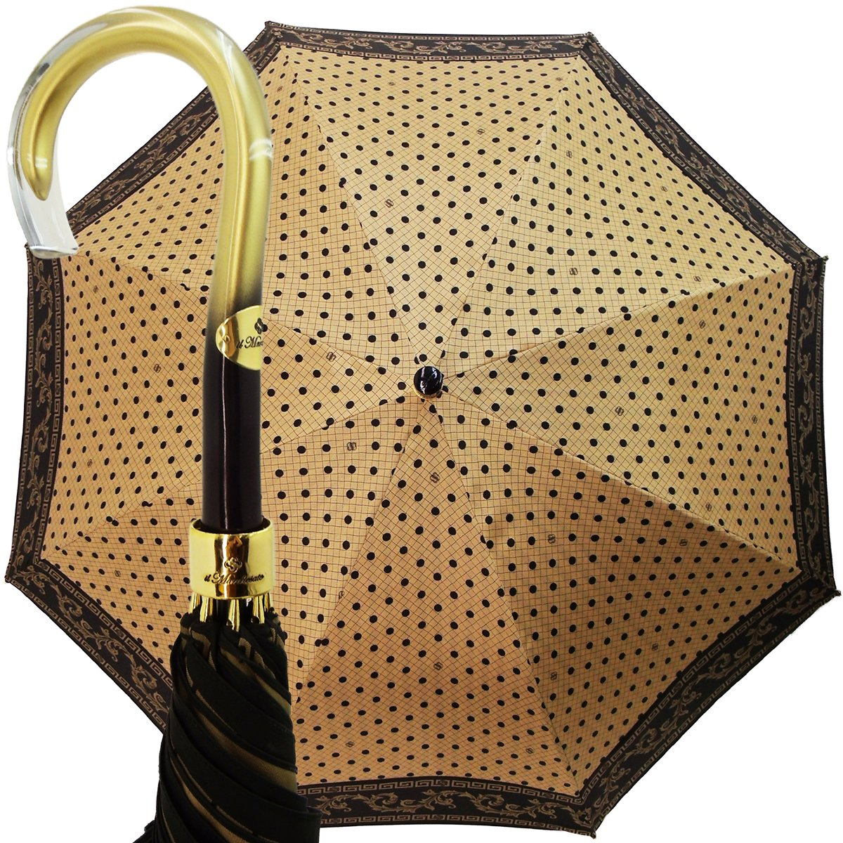 BEIGE POLKA DOT LADIES UMBRELLAS