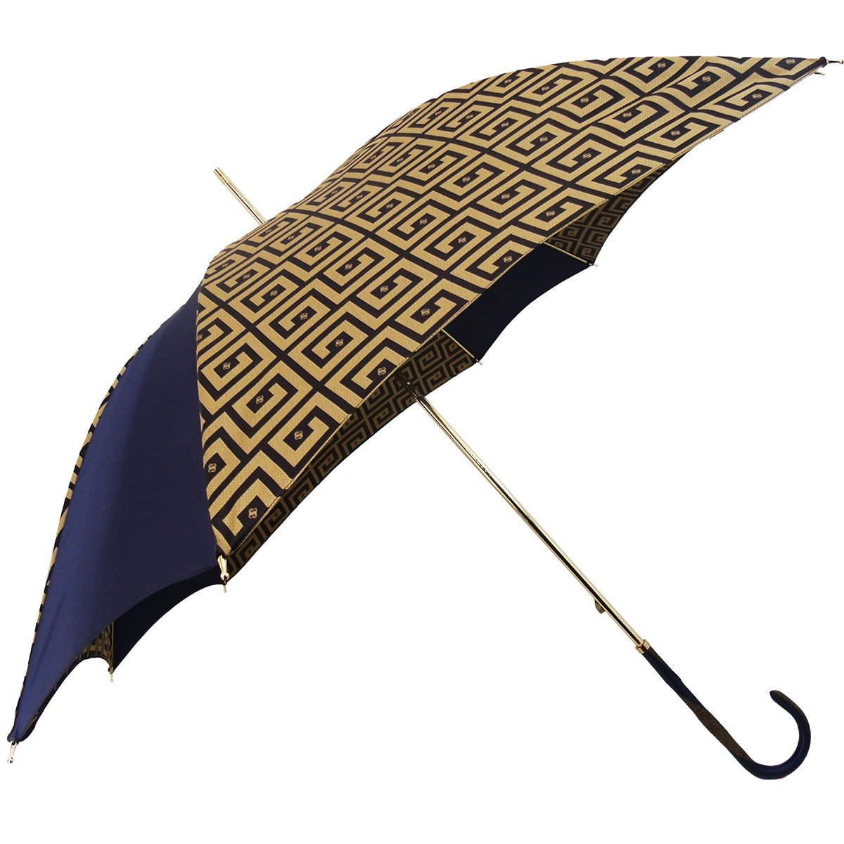 Original Handcrafted Umbrella with golden Greek design - il-marchesato