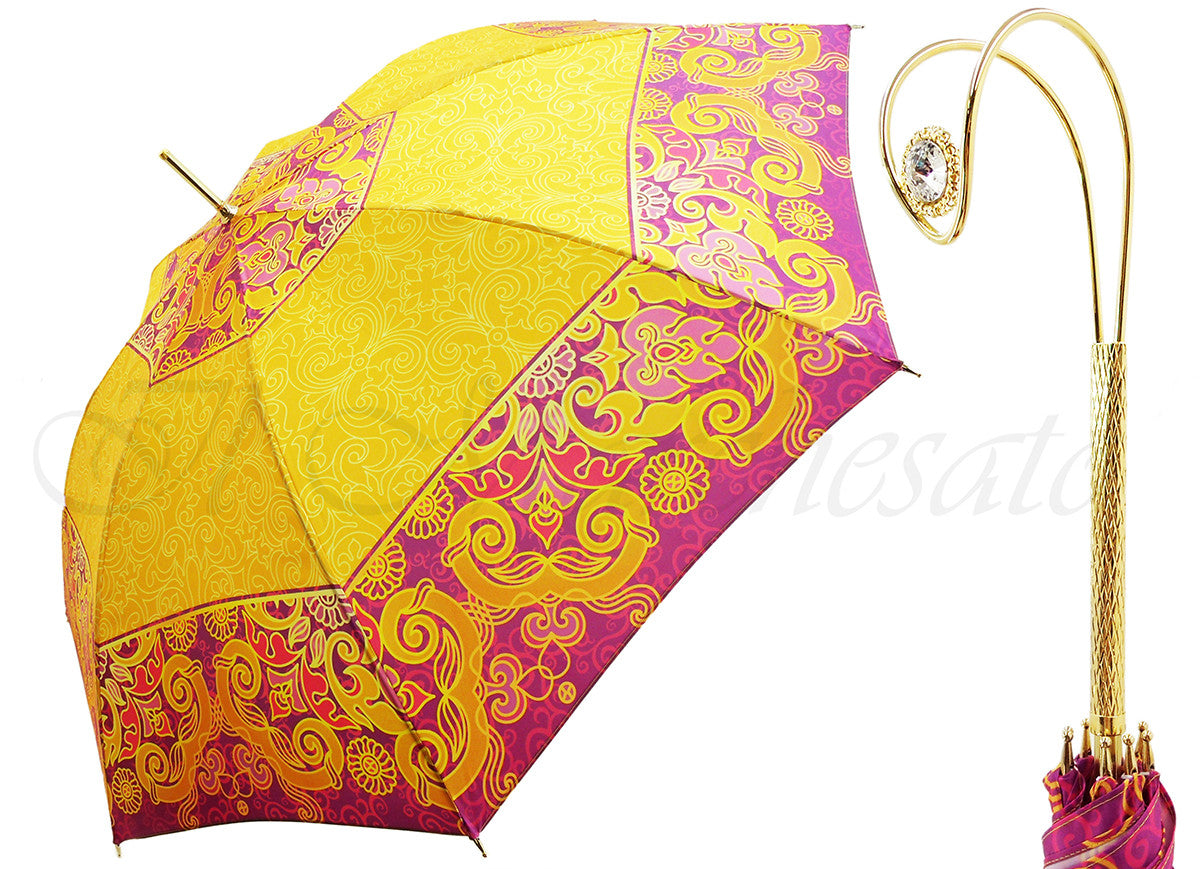 Wonderful Umbrella in a Beautiful Bright Yellow & Fuchsia Design - il-marchesato