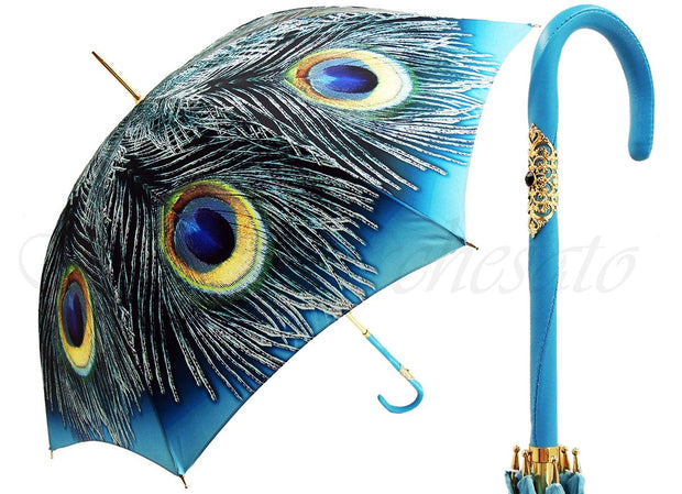 Handcrafted Luxury Peacock Umbrella in a Blue Sky Color