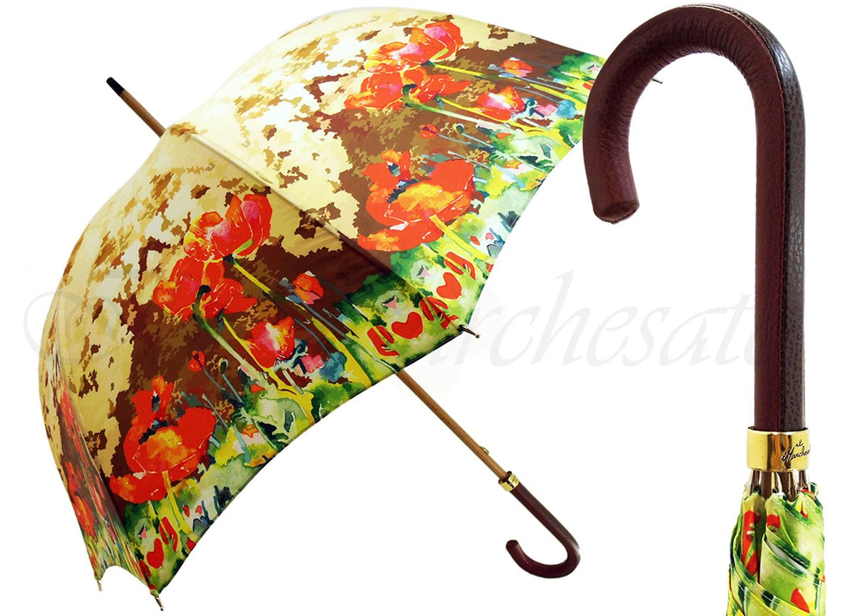 New Floral Umbrella Pattern With Leather Handle - il-marchesato