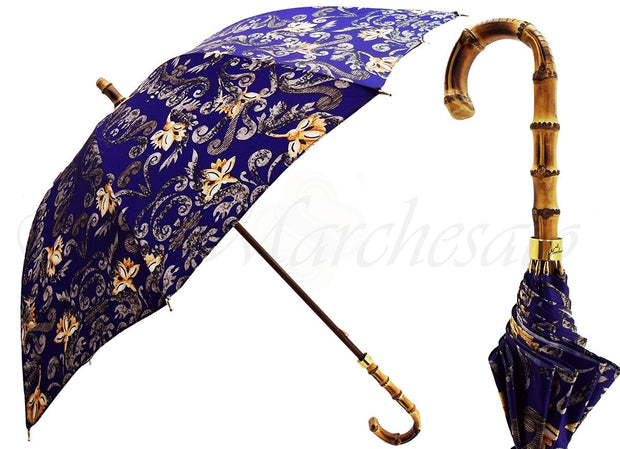 flowered umbrella with bamboo handle