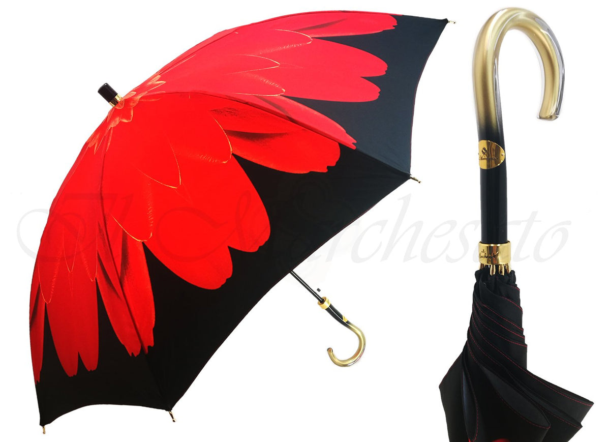 Beautiful Umbrella With Red Printed Flower - il-marchesato