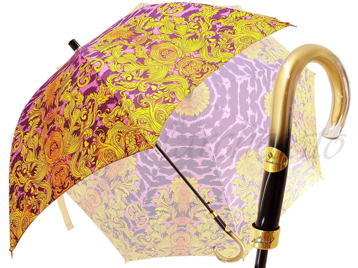 Beautifull Umbrella Features a Lilac & Gold Abstract Leopard Design - il-marchesato