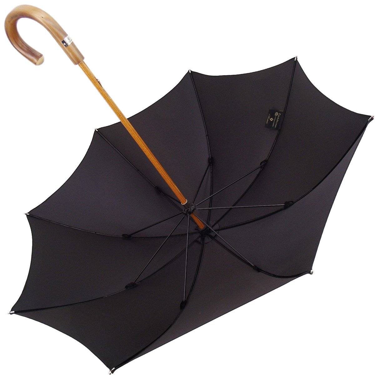 Black Umbrella with Chestnut Handle - il-marchesato