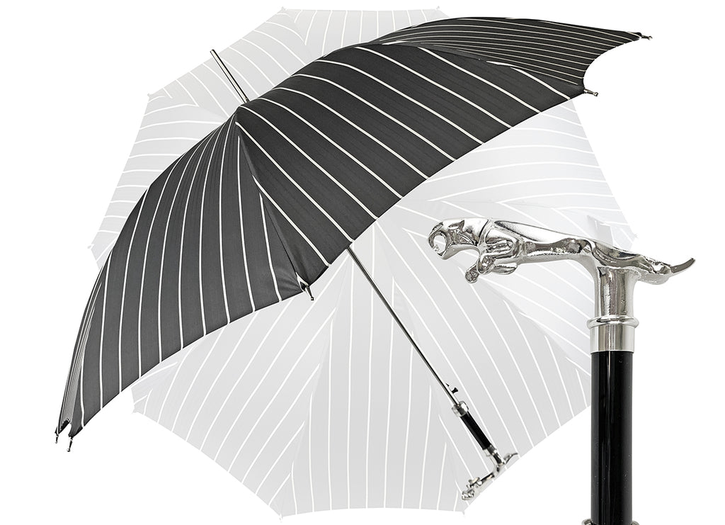 Luxury Gents Black Pinstripe Umbrella with Jaguar Handle - il-marchesato