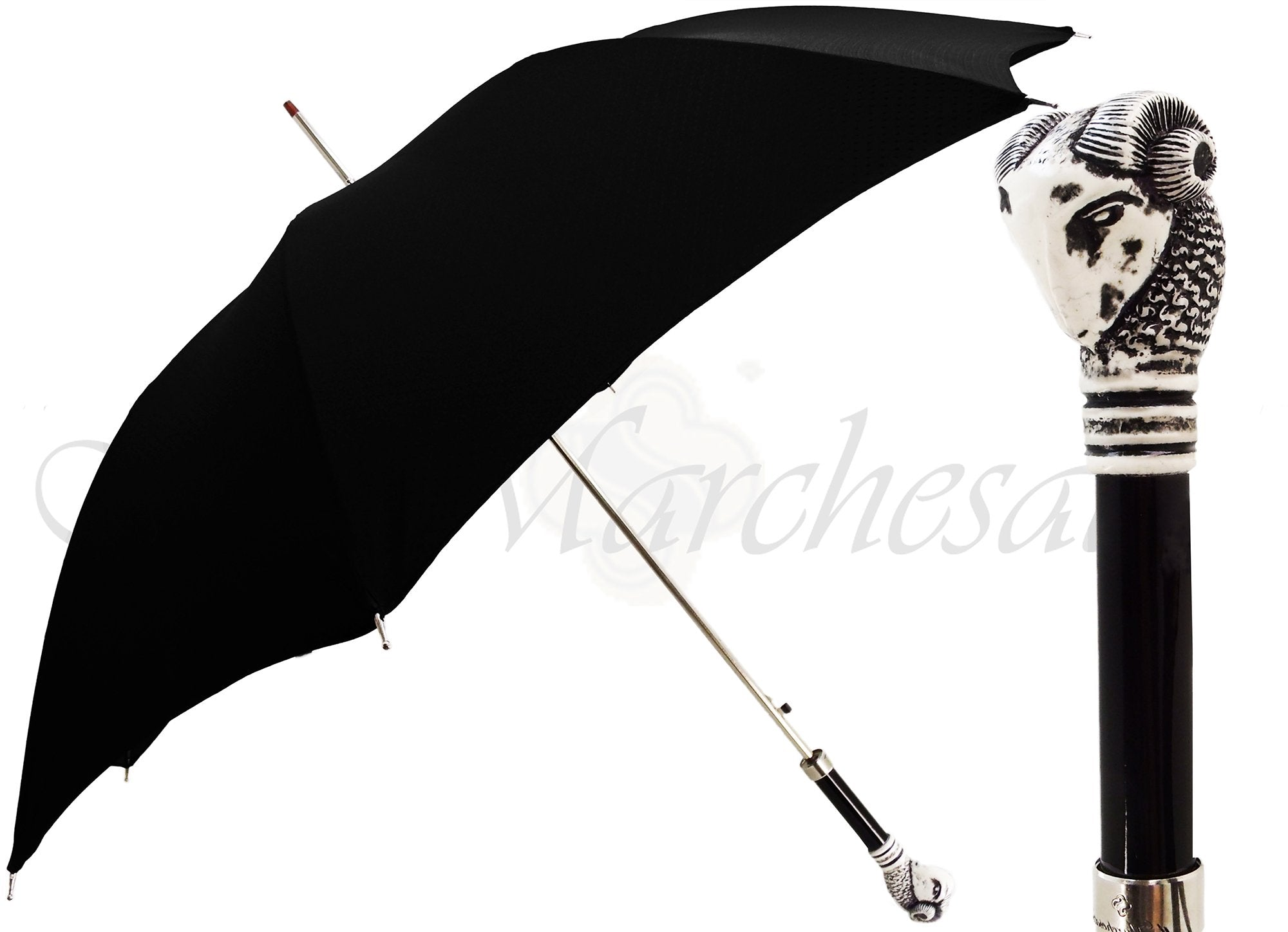 Men's Black Umbrella - Ram Head Handle - il-marchesato