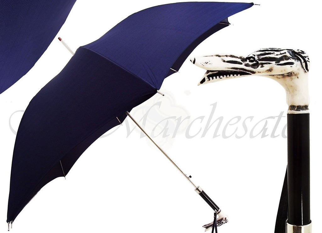 Men's Blue Umbrella - Dog Head Handle - il-marchesato