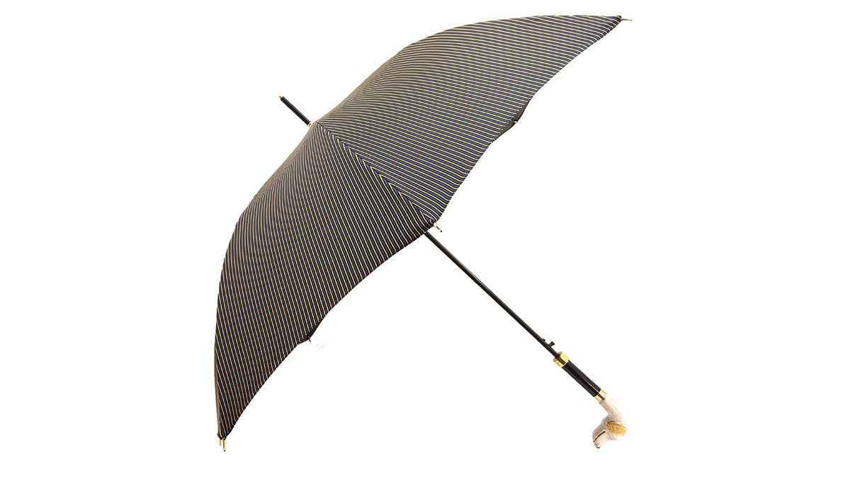 Men's Stripe Umbrella - Hound Head Handle - il-marchesato