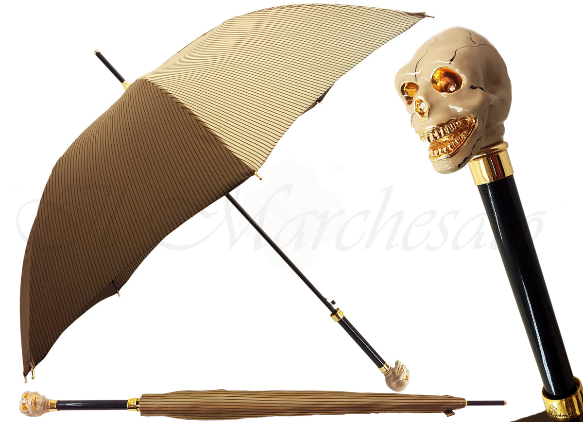 Enamelled Luxury Skull Umbrella Beige Striped Design - il-marchesato