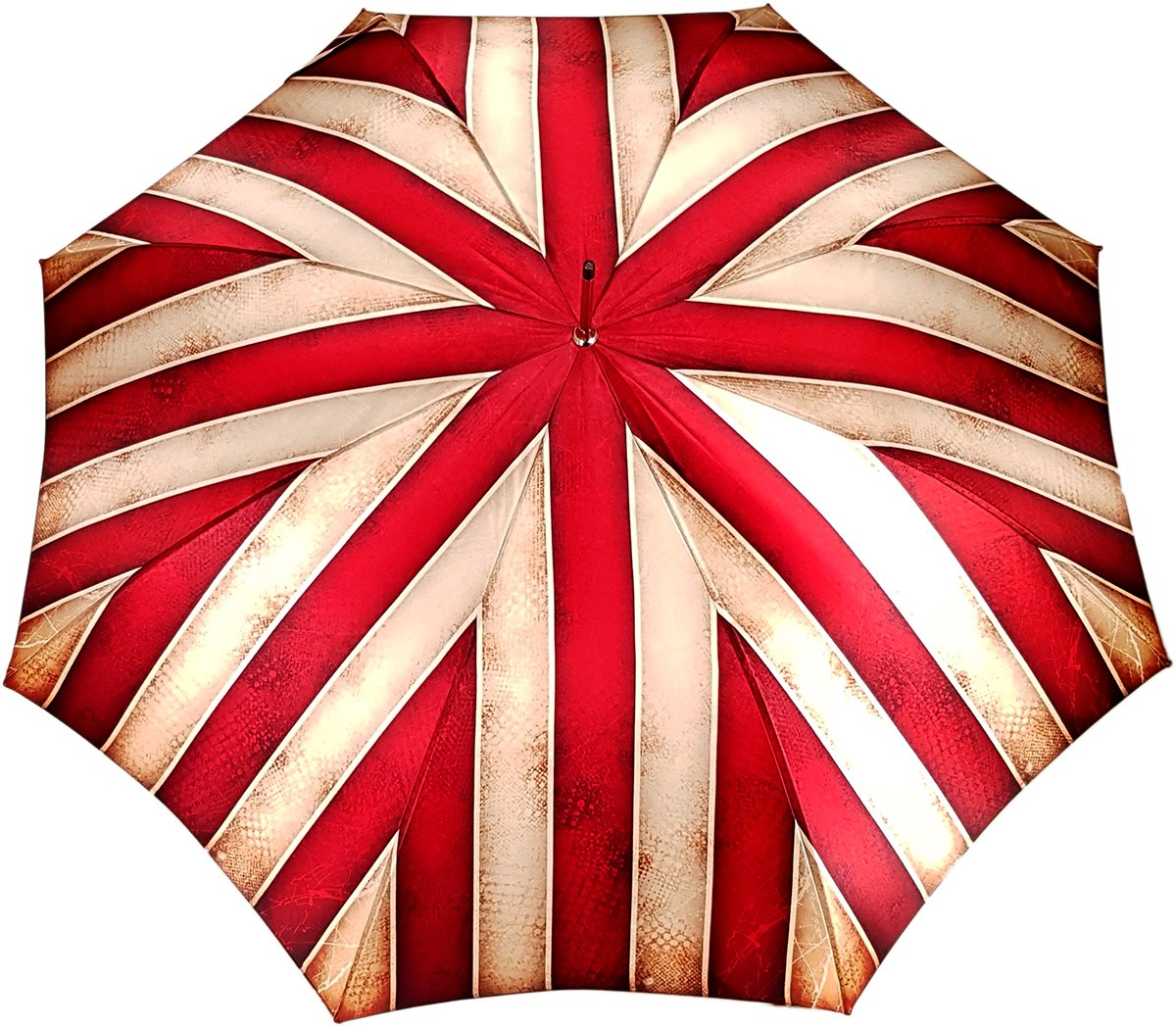 red and cream striped umbrella