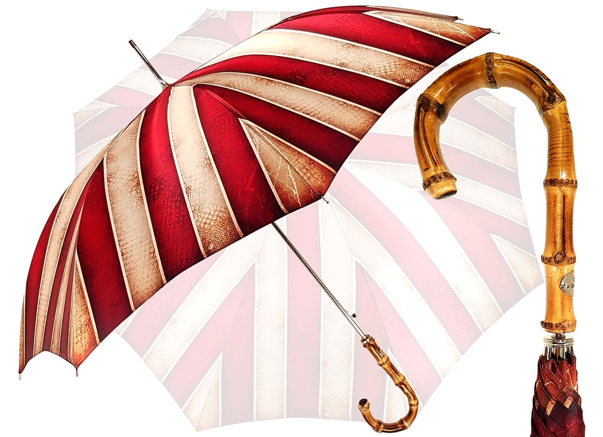 IL MARCHESATO RED STRIPED MEN'S UMBRELLA
