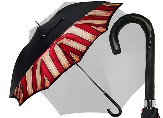 Handmade Men's Umbrella - Striped Red And Cream - Shaded Colors - il-marchesato