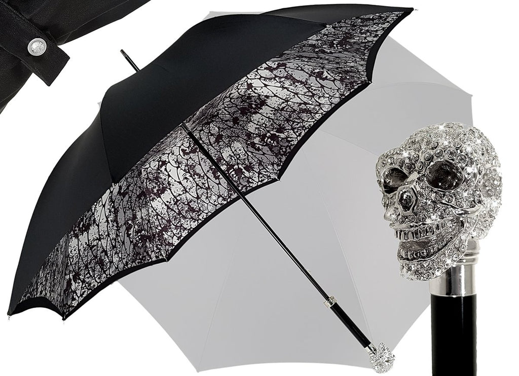 Amazin Lux Silver Swarovski Skull Umbrella - Double Cloth - il-marchesato