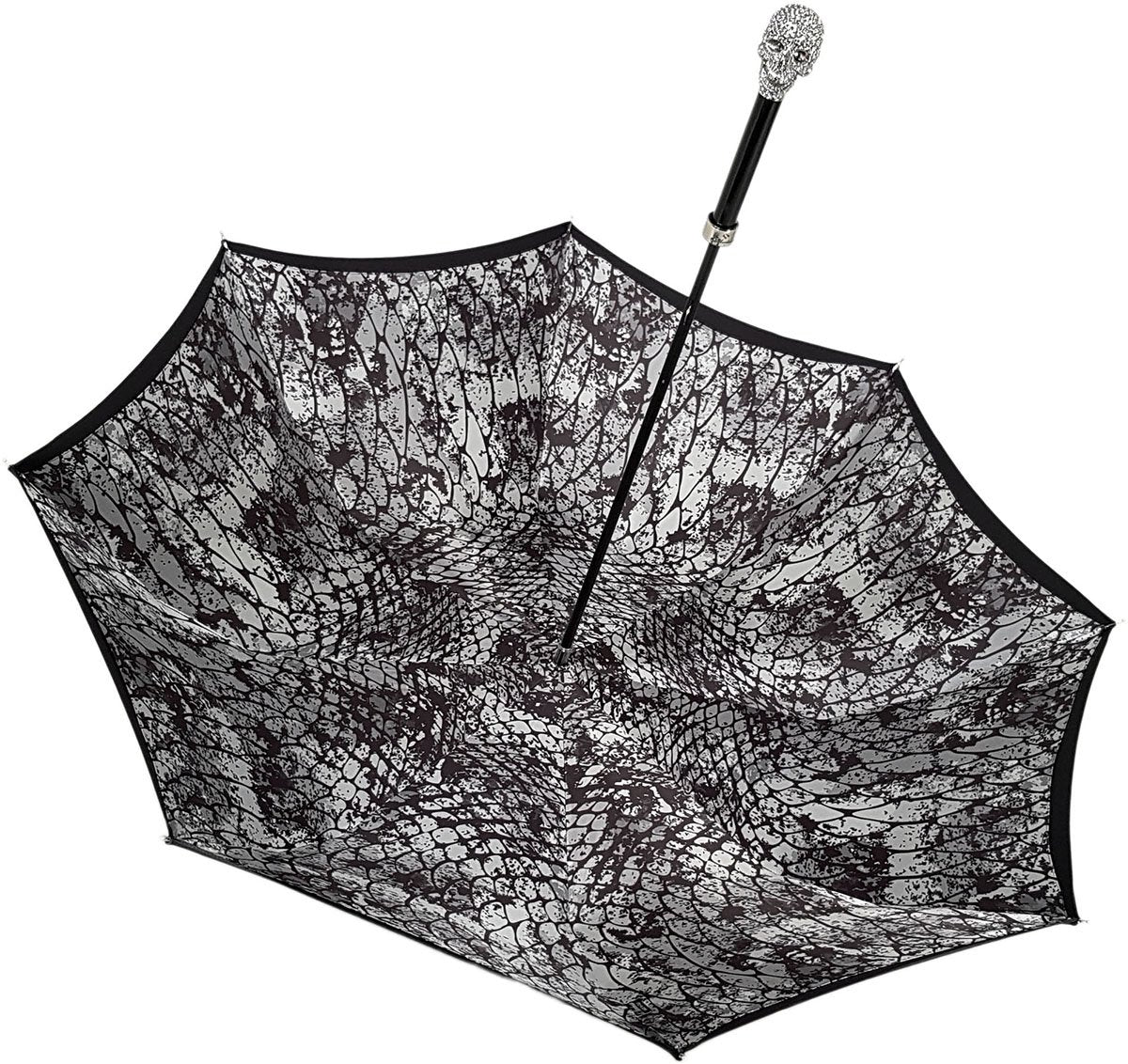 Amazin Lux Silver Swarovski Skull Umbrella - Double Cloth